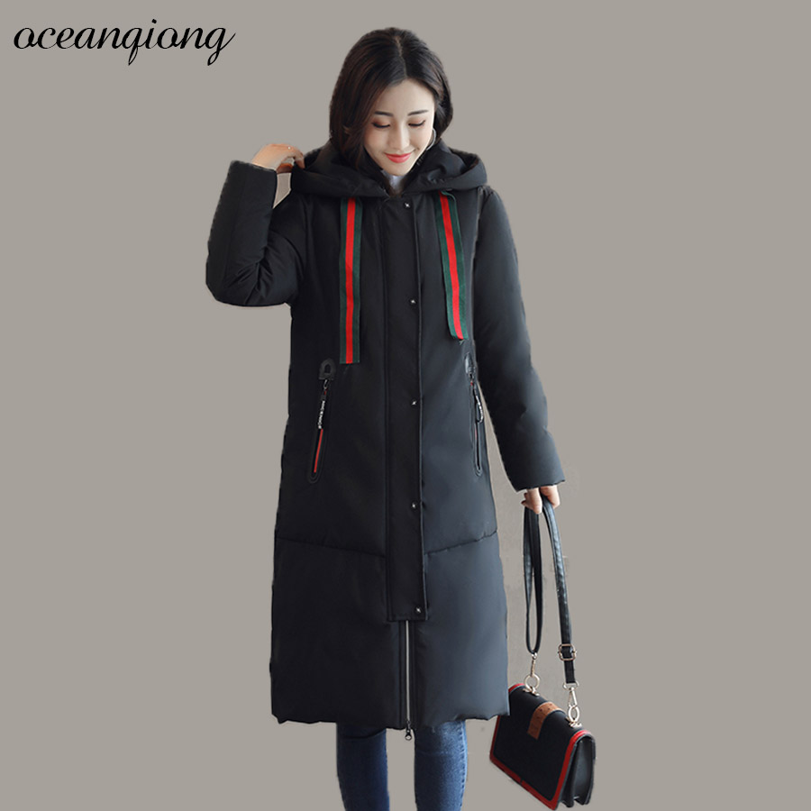 Parka Women Jackets Long Winter  2017 Fashion Warm Cotton Coat Solid Hooded Letter Print Thick Female Parkas Wadded Outerwear 2017 parkas jackets women autumn winter coat thick female casual loose long down cotton wadded fashion warm plus size outerwear