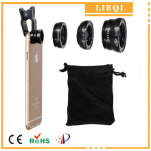 LIEQI 4 in1 Universal Clip on Lens 0.65X Wide Angle +CPL Polarizer + Fisheye Lens+Macro for iPad iPhone 6 6S Plus 5S Samsung HTC