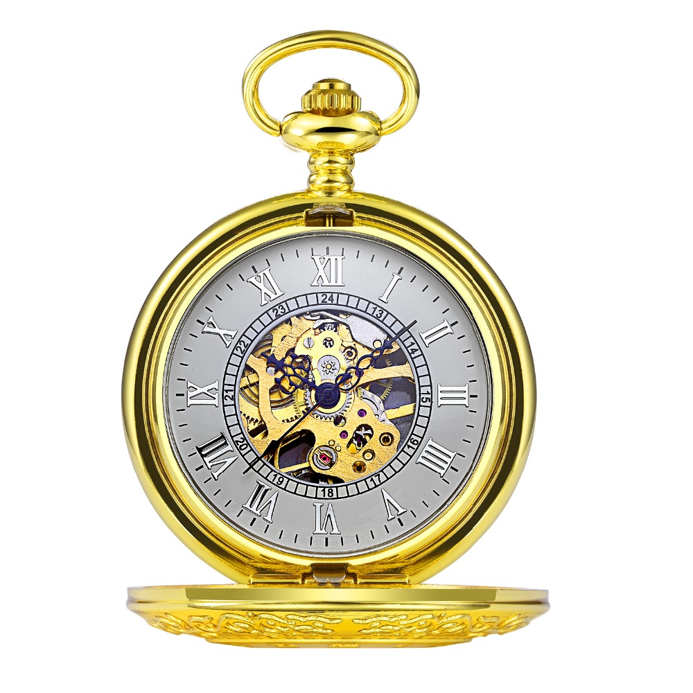 online get cheap men pocket watch aliexpress com alibaba group new hot gold fashion casual skeleton pocket watch r numerals dial mechanical hand wind long chain clock men pocket watches