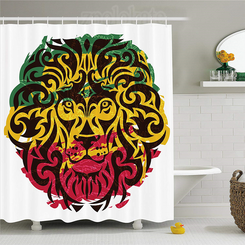 Rasta Shower Curtain African Ethiopian Culture Wild Lion Head Grunge Style  Flag Colors Fabric Bathroom Decor Set With Hooks Br In Shower Curtains From  Home ...