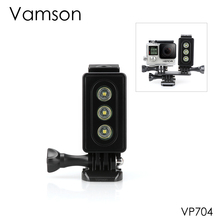 Vamson สำหรับ Gopro Hero 6 5 4 3 ไฟฉายกันน้ำใต้น้ำ LED Mount สำหรับ SJCAM สำหรับ Xiaomi YI สำหรับ Eken VP704