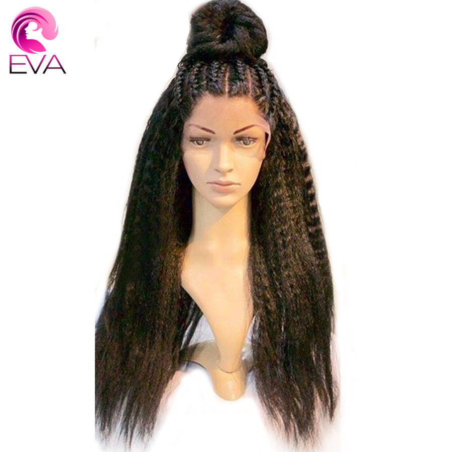Kinky Straight 150% Density 360 Lace Frontal Pre Plucked With Baby Hair Brazilian Human Hair Wigs For Women Remy Hair Eva Hair