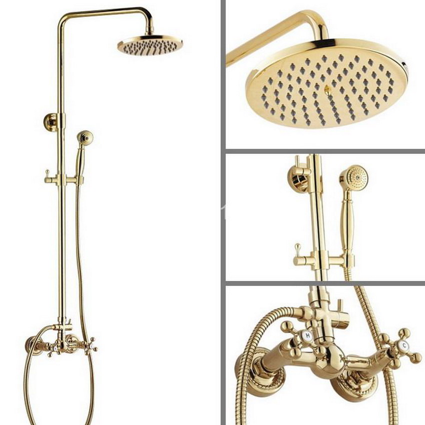 Two Cross Handles 8'' Bath Rain Shower System with the Shower Head & Hand shower Set Faucet Mixer Tap Gold Color Brass agf324 чехол для iphone 5 tuscany leather tuscany tl140927 black