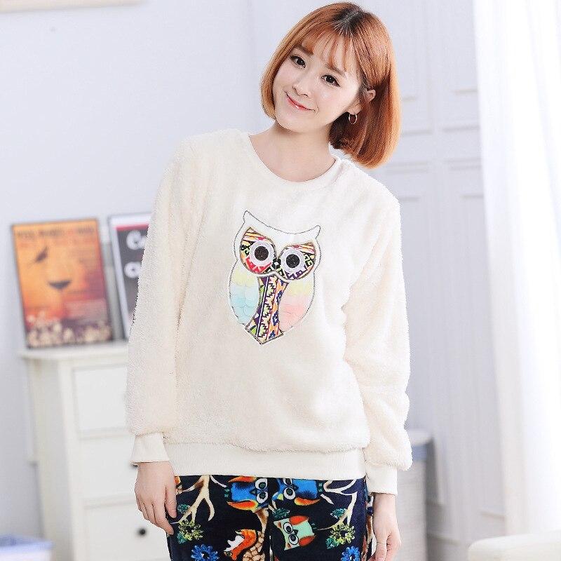 New 2018 Thick   Pajamas   Fleece Owl Appiques Print Long Sleeve Top + Pants Elastic Waist   Pajama     Sets   Lounge pyjamas S7D304