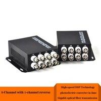 8 Channel VGA Video Multiplexer 1 Way Reverse Data Optical Digital To Fiber Optical Converte For