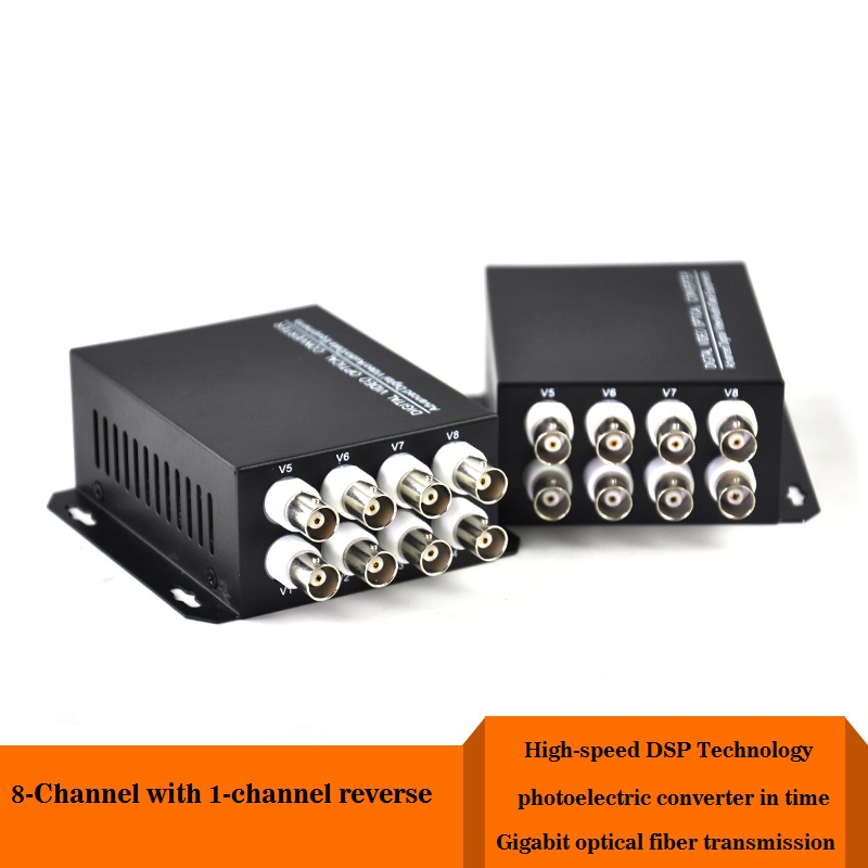 8-channel VGA video multiplexer 1-way reverse data Optical  Digital to Fiber Optical Converte for security guard sytems 8 channel digital responder parts