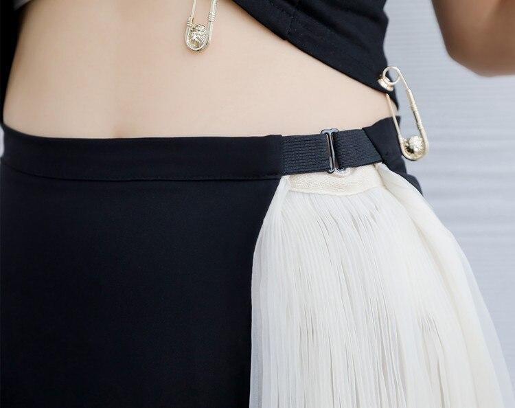 SuperAen Europa 2018 Sommer Neue Frauen Mesh Röcke Casual Wilden Lose Damen Plissee Rock Spleißen Mode Röcke Weibliche