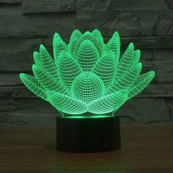 Lampe 3D Lotus 3D coloré lumière de nuit étrange visuel illusion lampe LED lampe Décor lumière 1