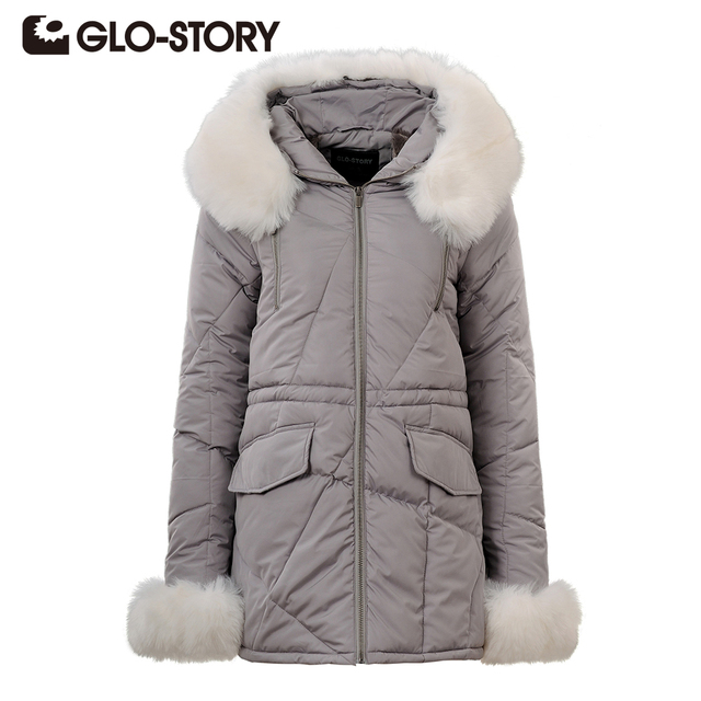 GLO-STORY Brand  Jacket Women 2017 Winter Parkas Coat Casual Women Parka Warm Clothes  Female Hooded Outwear Coats WMA-3270