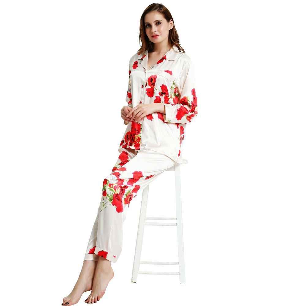 Womens Silk Satin Pajamas Set Pajama Pyjamas Set Sleepwear Loungewear S a05931928