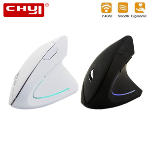 CHYI Ergonomic Vertical Mouse Wireless 1600DPI Optical Computer Mause Gamer 5D LED Gaming Mice With Mouse Pad Kit For Laptop PC(China)