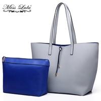 Miss Lulu 1 Set Women PU Leather Shoulder Handbag Reversible Tote Bag Fashion Top handle Bags Large Shopper Two In One YD6628