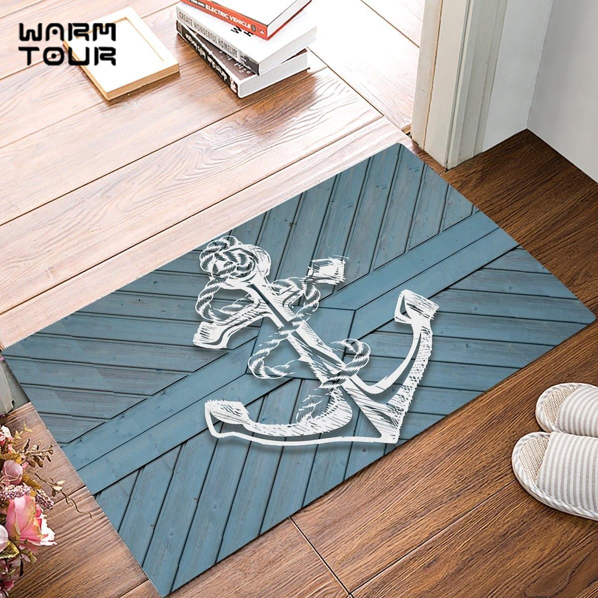 Aliexpress Com Buy Blue Rustic Wood Board White Anchor