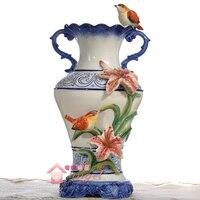 ceramic creative flowers vase pot home decor crafts room wedding decorations handicraft Blue and white porcelain vase figurines