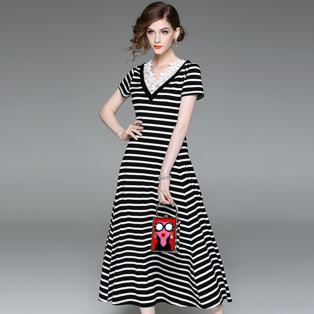 bd989a45 Ladies-Sexy-New-Style-Striped-Cotton-Lace-Top-Deep-V-Neck-A-Linen-Short- sleeve.jpg_640x640.jpg