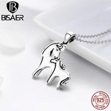 100% 925 Sterling Silver Worldwide Animal Running Horse Mother & Baby Pendant Necklaces for Women Sterling Silver Jewelry Gift(China)