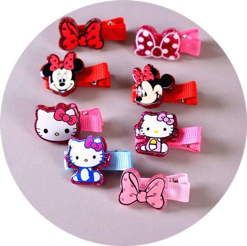 24pcs/lot Happy Princess Cartoon Minnie Kitty Bow Birthday Festival Party Babygirl Hairpin Hair Decors Kids bobby pin Favors