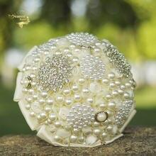 Роскошные свадебные букеты с жемчугом и кристаллами цвета шампанского