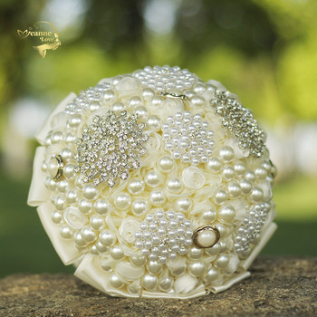 Luxurious Pearls Crystal Champagne Wedding Bouquets Flowers Ramos Novia Artificiales Abanicos Para Boda Al Por Mayor WP333