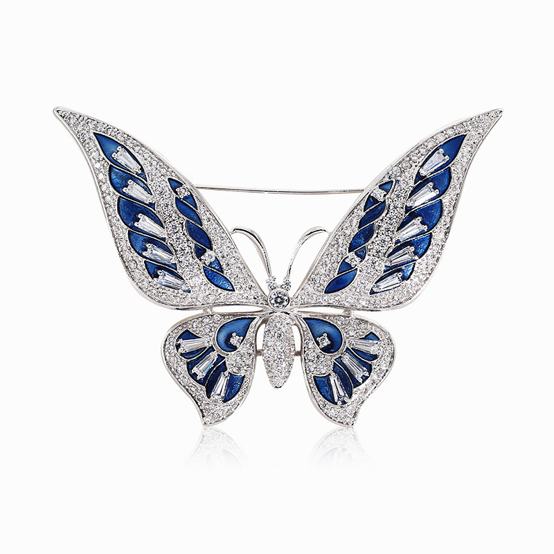 Large Enamel Pin Lapel Insect Butterfly Brooches and Pins for Women Luxury Lover Lady Coat Zirconia Crystal Broches Jewelry X021 brooch pins pink flamingo brooches for women love cute gift enamel lapel pin broche broches 2018 fashion jewelry accessories