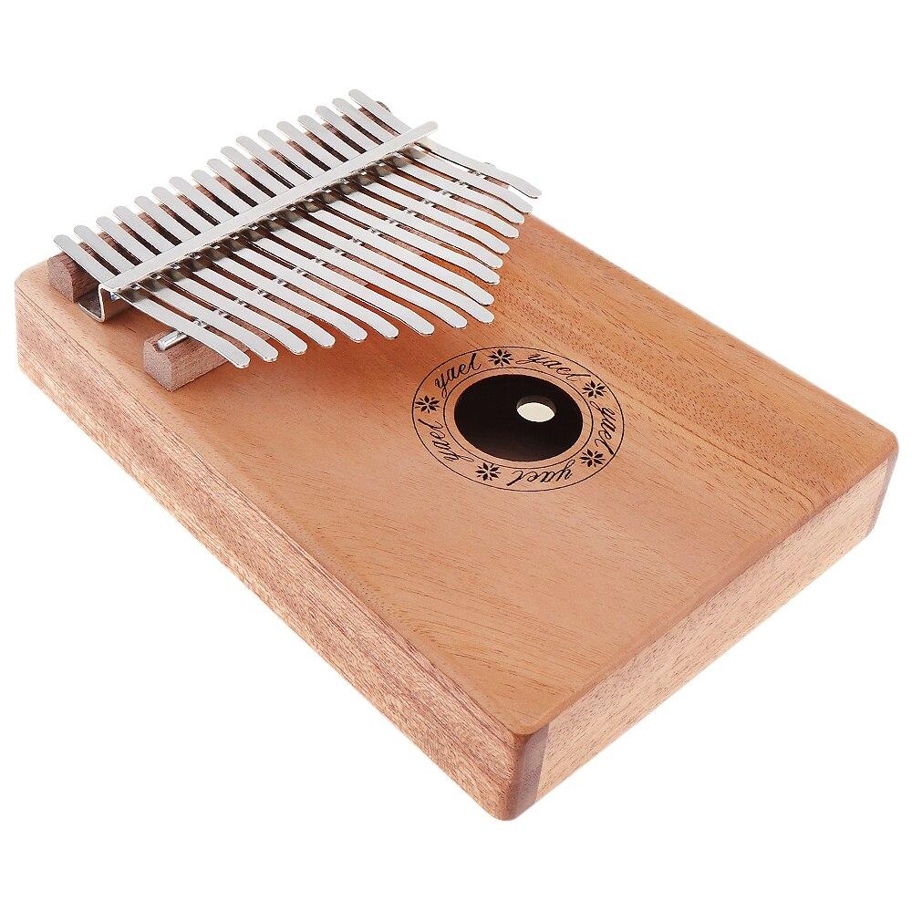 17 Key Mini Keyboard Instrument Kalimba Solid Mahogany Thumb Piano Mbira Natural with 7pcs Accessories