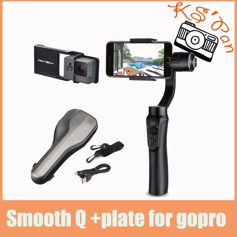 Prix pour Zhiyun lisse q 3-axis de poche cardan stabilisateur portable pour iphone 7 6 6 s + lisse plaque costume pour gopro hero 5 4 3 4 couleur