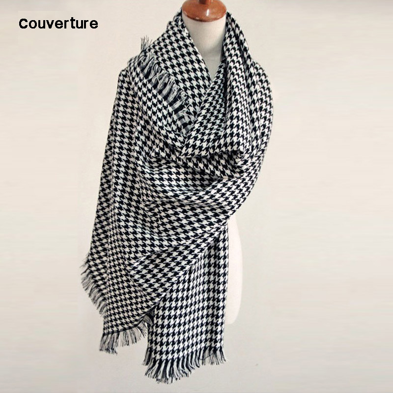 2019 Brand Blanket Scarf For Women Plaid Black And White Houndstooth Cashmere Warm Thick Long Pashmina Women Shawls And Scarves