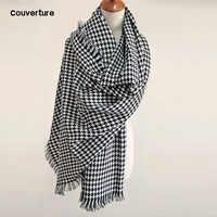 2019 marque couverture écharpe pour femmes plaid noir et blanc pied de poule cachemire chaud épais longue Pashmina femmes châles et écharpes