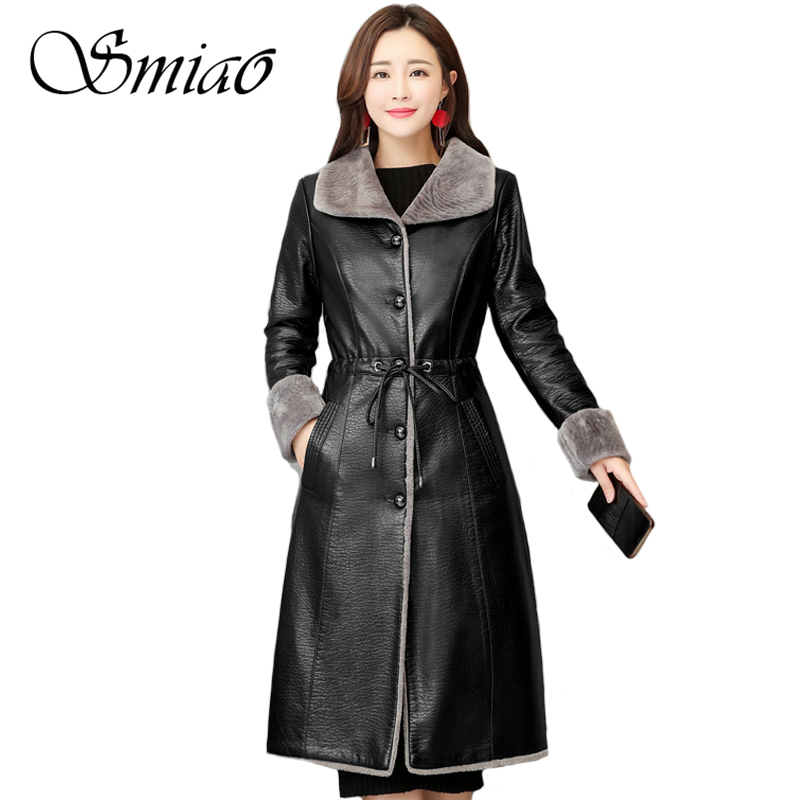 2018 Fashion Women Sheepskin   Leather   Jacket Winter Autumn Plus Size 4XL Fur Long Coat Female Warm Soft Slim Lamb Fur Outerwear