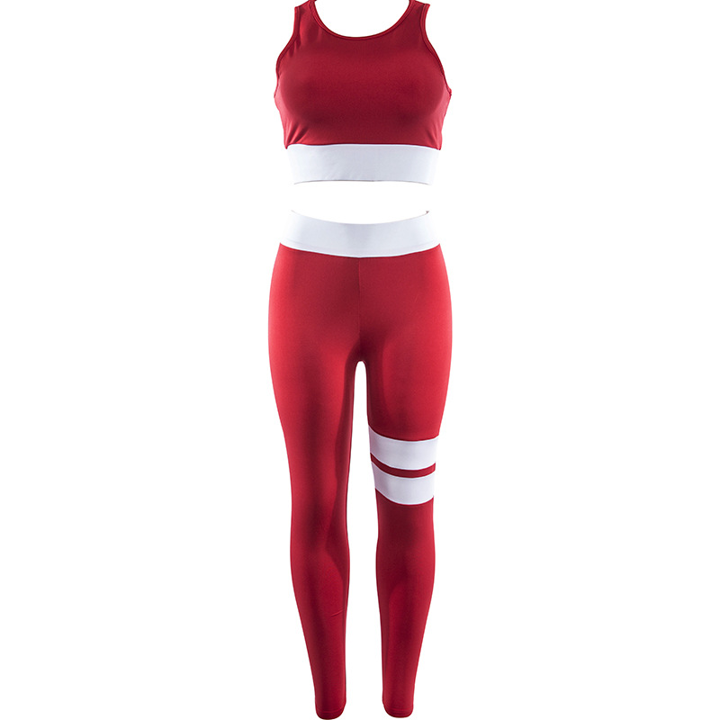 Women Tracksuit Solid Yoga Set Patchwork Running Fitness Jogging T-shirt Leggings Sports Suit Gym Sportswear Workout Clothes S-L 16
