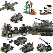 Ensamblaje de bloques de construcción militar 8 en 1 tanque de avión para niños a prueba de explosiones policía especial blindado coche marino cuerpo juguetes de niño