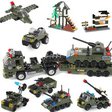 Military Building Block Assembly 8 in 1 Boy Aircraft Tank Explosion proof Special Police Armored Car Marine Corps Boy Toys