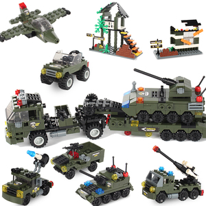 Image 1 - Military Building Block Assembly 8 in 1 Boy Aircraft Tank Explosion proof Special Police Armored Car Marine Corps Boy Toys