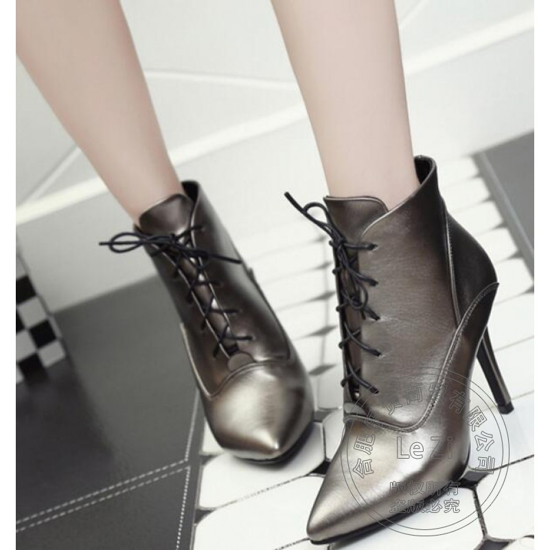 ФОТО Single Boots Sexy Adult Solid Color Thin Heels Repair Dough Women Booties Pointed Toe Ankle Lace-up Fashion Euro Style Rubber