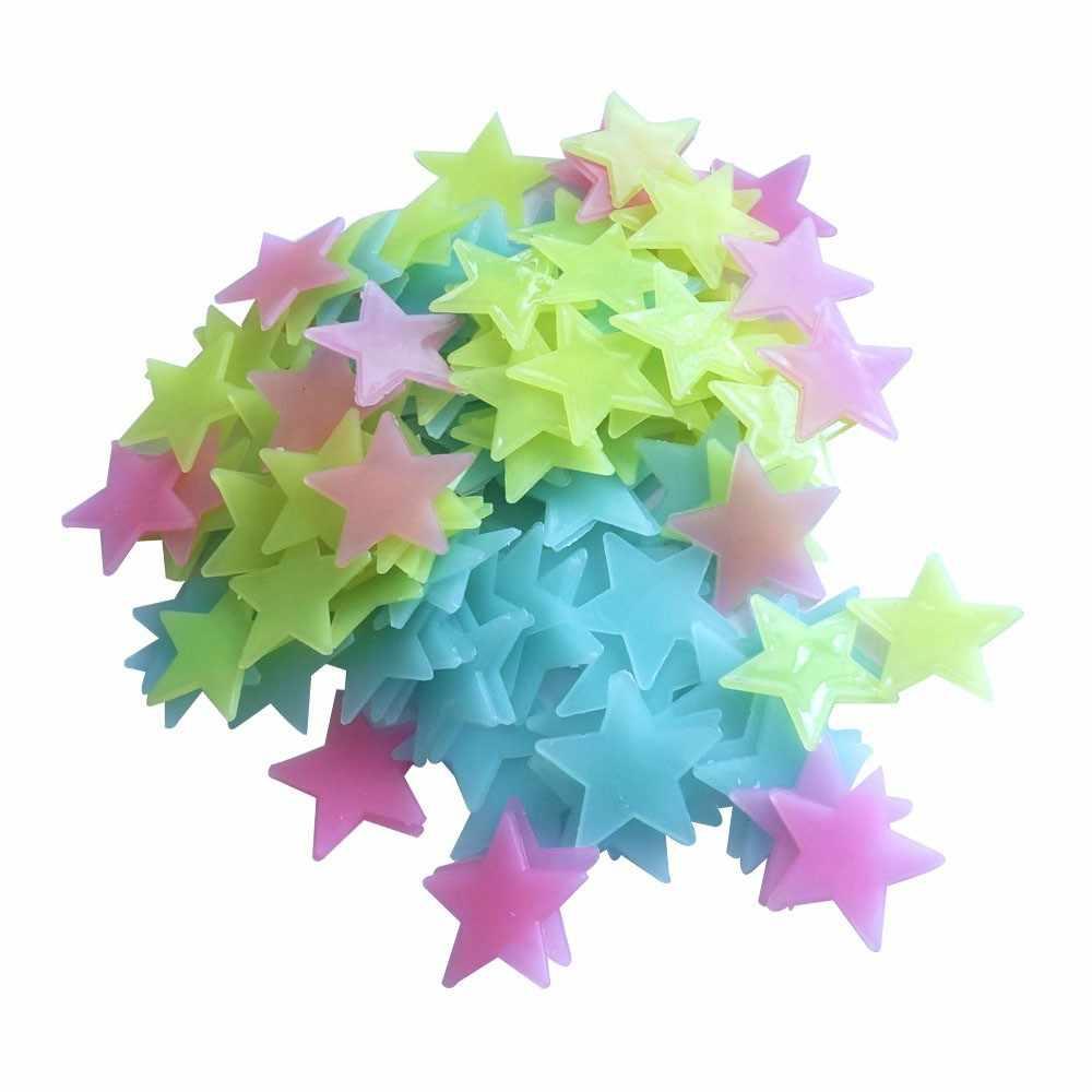 30 pçs/saco Estrela Luminosa Adesivos Quarto Sofá Brinquedo Pintura Fluorescente 3D adesivos Brilham no Escuro Brinquedos de Plástico para crianças quartos