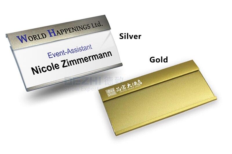 dezhi 80x42mm metal name badge holder with inner paper pin magnet