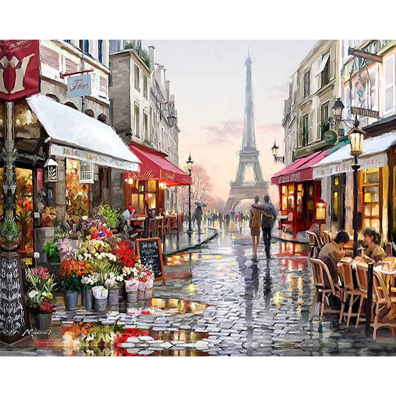 Frameless fiore paris street paesaggio diy pittura by numbers arte moderna muro dipinto a mano pittura a olio per la decorazione domestica 40x50 centimetri