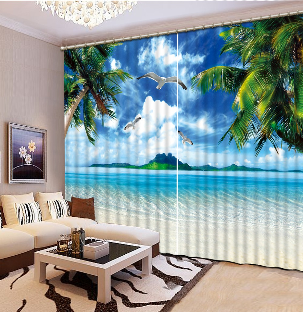 Curtains for living room curtain window room beach 3d for 3 living room windows