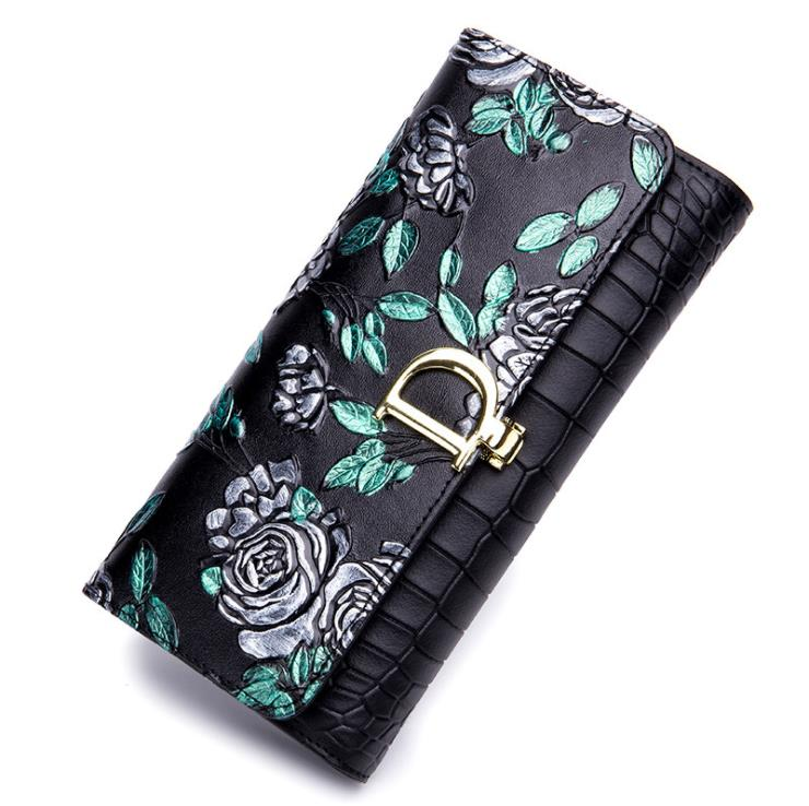 100% genuine leather 2018 new ladies money clip genuine leather long rose print European and American fashion leather wallet sim handbag 2018 new wallet european and american fashion eighty percent off ladies long wallet