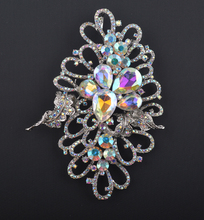 Aurora color brooches Bride Bridesmaid Wedding Romance Shining Clear AB Rhinestone Crystal Flower  Brooch Pin