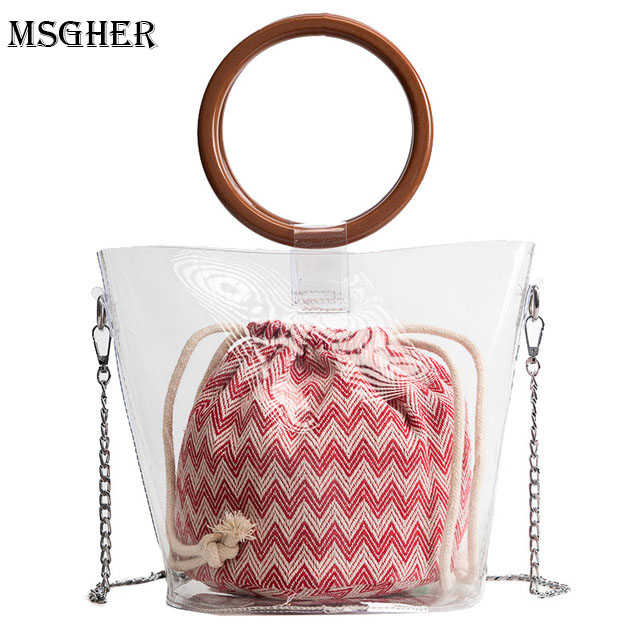 M.S 2PCS Clear Transparent Bucket PVC Bag Barrel Shaped Small Mini Wood Handle Handbags Women Fresh Summer Beach Shoulder Bag