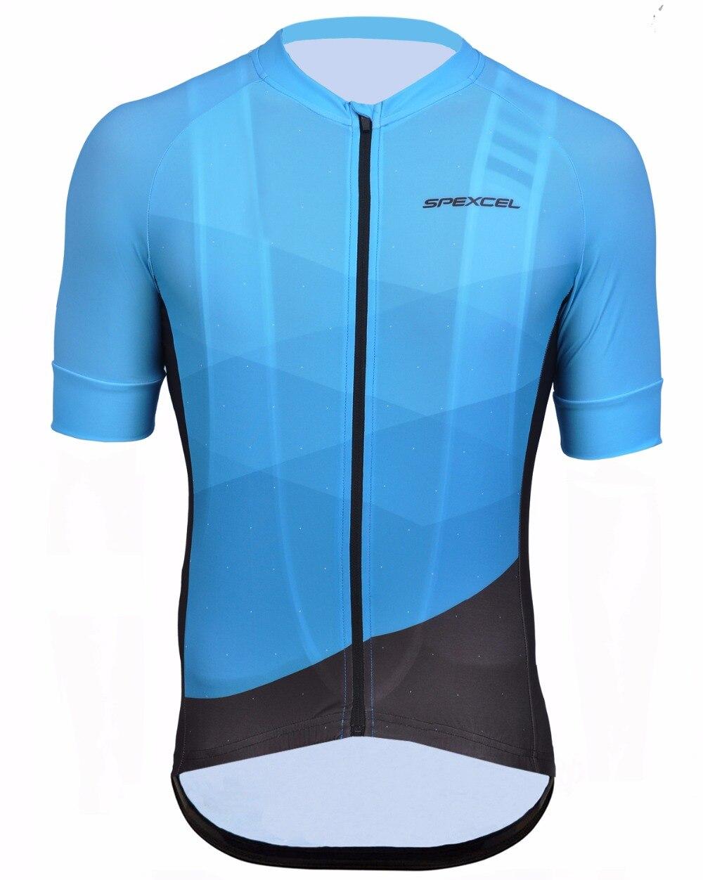 Prix pour Spexcel 2016 bleu léger de haute qualité vélo jersey course ajustement serré à manches courtes route équipement de vélo de montagne vélo vêtements