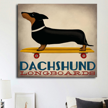 Dachshund Dog Ridding The Skateboard Wall Poster Canvas Print Funny Picture For Living Room Home Decor Wall Art Prints Unframed