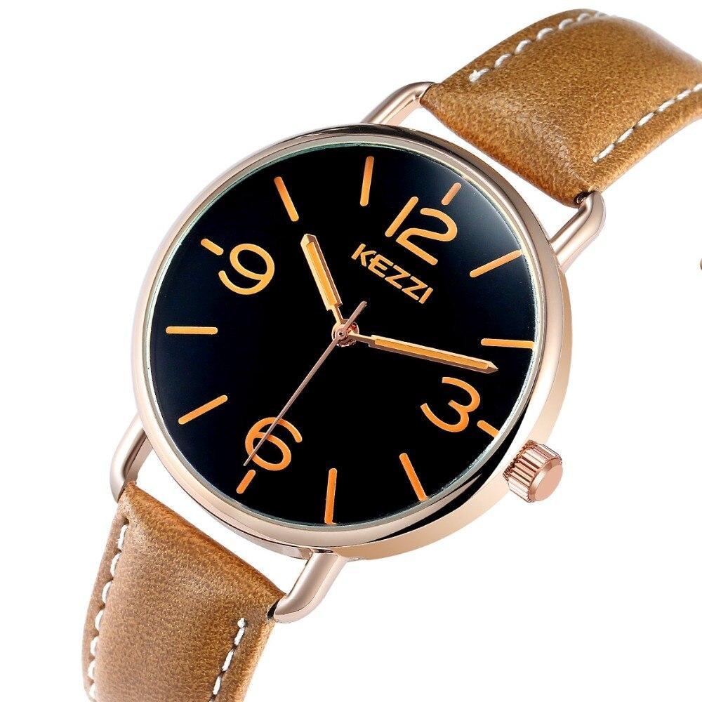 KEZZI Quartz Designer Femmes Montres Casual Chiffres Arabes Japon Bande de Cuir Analogique Montre-Bracelet Creative Design Reloj Mujer