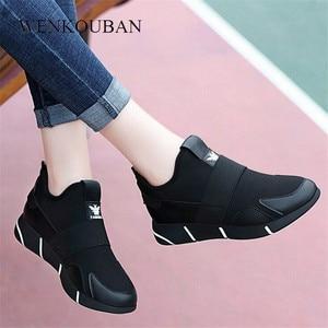 Image 1 - Zapatillas de plataforma para mujer, zapatos vulcanizados a la moda, zapatillas de verano para mujer, zapatos de cuña transpirables, zapatillas planas de baloncesto para mujer 2020