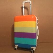 20 INCH NE# A shipping delay impulse special offer rainbow cute universal wheel trolley suitcase 24 inch Custom Lock