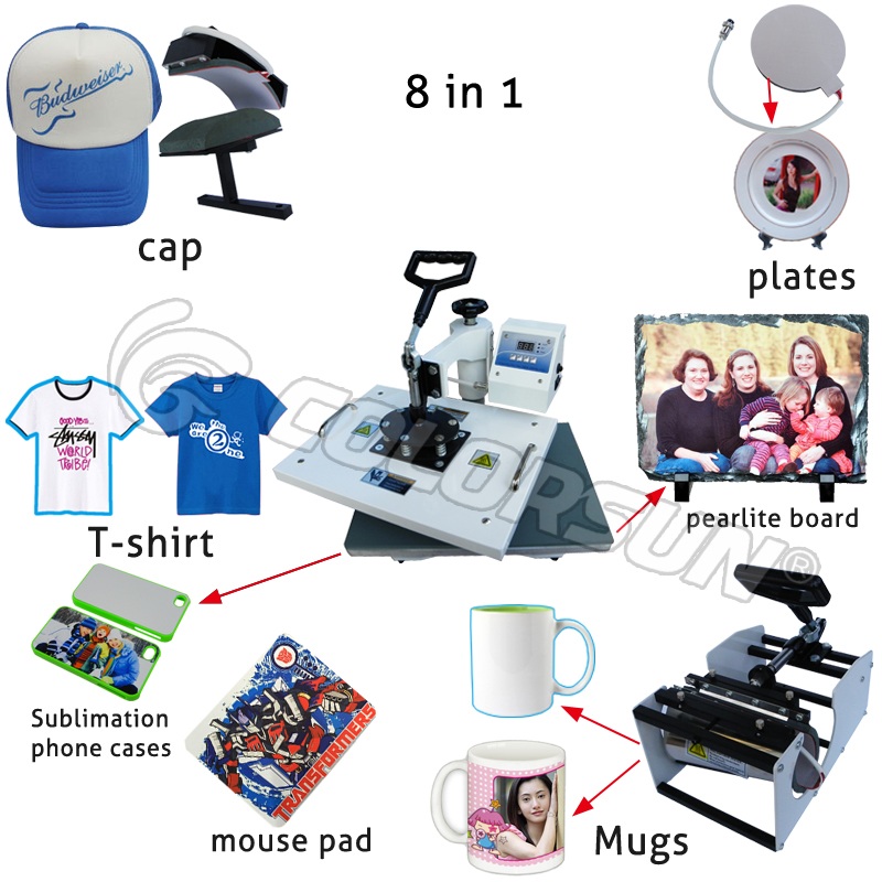 купить Advanced New Design 8 In 1 Combo Heat Press Machine,Sublimation/Heat Transfer Machine,Heat Press For Mug/Cap/T shirt /Phone case недорого