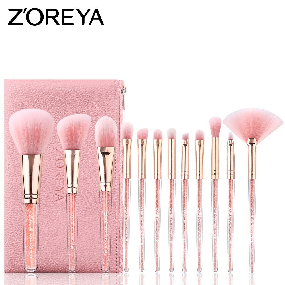 ZOREYA Make Up Brushes 10/12pcs Diamond Makeup Brush Set With Pink PU Leather Bag Face And Eye Brush