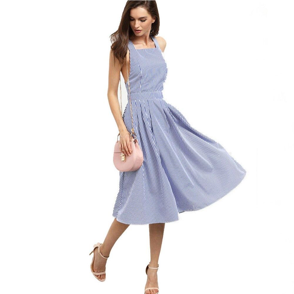 9d5817fb664 Dower Me Sexy спинки крест-накрест Женское платье трапециевидной формы без  рукавов Vestidos летняя уличная одежда клуба вечерние миди синее платье в .