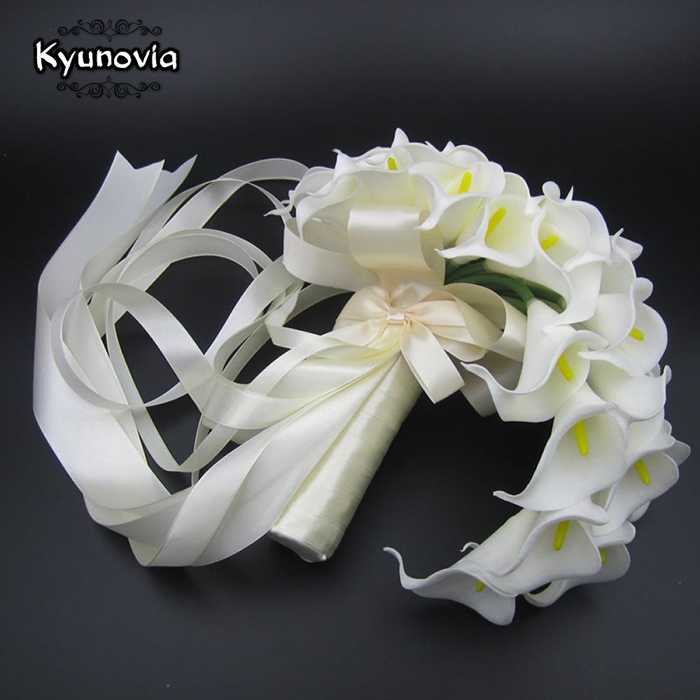 Aliexpress buy kyunovia teardrop cascading bouquet artificial aliexpress buy kyunovia teardrop cascading bouquet artificial flowers white calla lily long flower bouquet wedding bouquet bridal bouquets d73 from izmirmasajfo